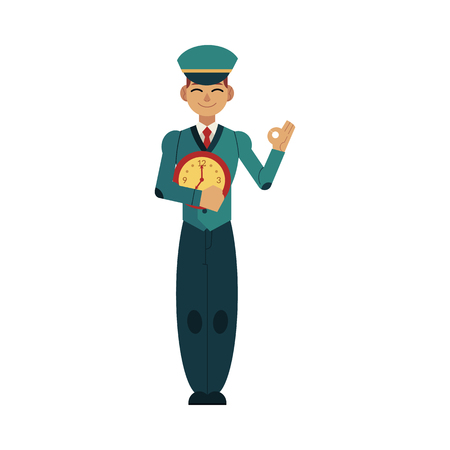 Young worker with time concept image of postman in uniform holding wall watches in front of his chest and showing okay hand gesture isolated on white background. Flat cartoon vector illustration