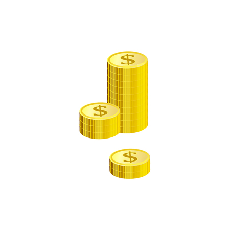 Stack of gold dollar coins isolated on white background - isometric metal money element for finance and banking theme banner or card. Vector illustration of wealth and condition.