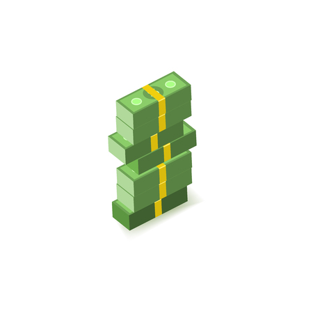 Stack of green paper banknotes of dollars in packs of one hundred notes isolated on white background - isometric money element for banking, finance or economy banner and card. Vector illustration. Иллюстрация