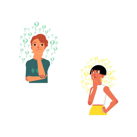 Vector flat young cute caucasian adult woman, man portrait. Beautiful character standing thoughtful pose holding chin thinking with questions above head. Isolated background illustration