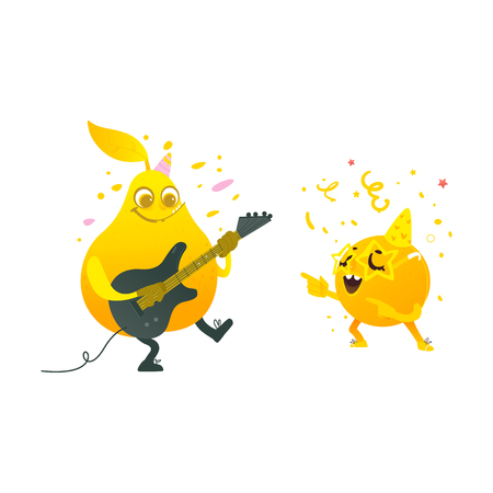 Vector cartoon fruit characters at summer party set. Orange in fancy star glasses dancing, pear playing electric guitar. Summer vacation, party poster. Isolated illustration, white background