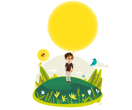 Little boy stands and holds extremely big yellow hot air balloon - copy space. Sunny summer banner for greeting card, poster, invitation. Cartoon colorful vector illustration.