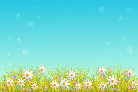 Spring grass and flowers border on blue sky background with empty space for text.