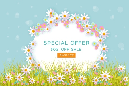 Easter special offer poster, banner, holiday template on blue bubble background with spring festive elements.
