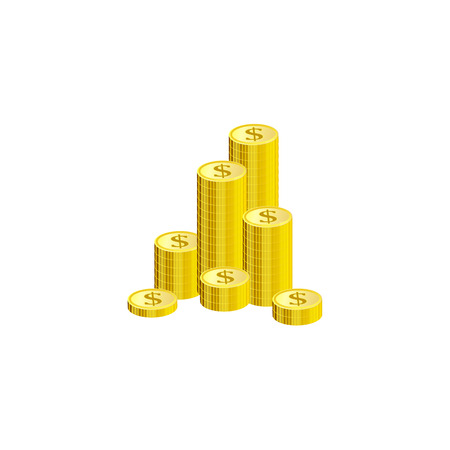 Isometric gold stack of dollar coins isolated on white background - cartoon metal money element for finance and banking theme banner or card. Vector illustration of wealth and condition.