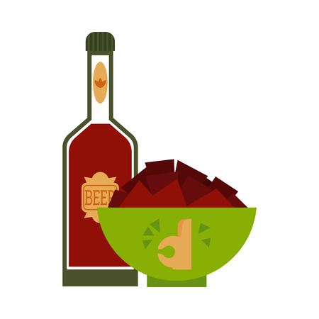 Flat beer glass bottle with golden label and nachos chips snack plate in cartoon Illustration.