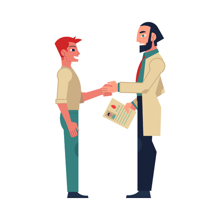Flat male doctor shaking hand to man patient holding marrow bone, blood donation document. Medical agreement concept. Vector isolated background illustration. Illustration