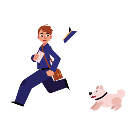 Cartoon postman character running away with fear from angry dog. Vectores