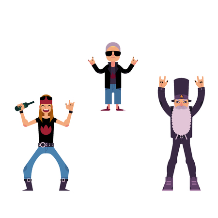 Vector flat rock music, culture people set. Alternative, heavy metal punk style long hair young man drinking beer, elderly men wtih white beard showing rock sign, old woman in sunglasses illustration