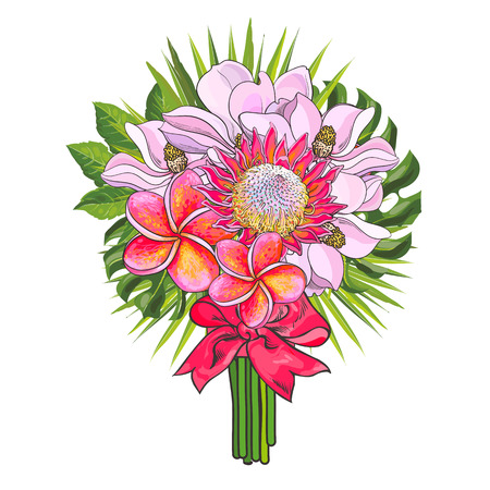 Tropical flowers and green palm leaves in bouquet with pink ribbon isolated on white background. Hand drawn exotic blossoms in floral composition. Vector illustration. Ilustrace