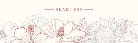Tropische Blumen fassen nahtloses Muster in der Skizzenart auf weißem Hintergrund ein - übergeben Sie gezogene exotische Blüte des Hibiscus, des Protea, der Magnolie und des Plumeria mit bunter Linie Kontur. Vektor-illustration Vektorgrafik