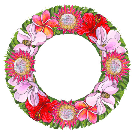 Tropical flowers and palm leaves in floral composition in form of circle isolated on white background in sketch style. Hand drawn natural frame with exotic blooms and copy space. Vector illustration.