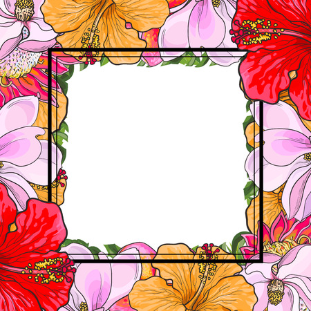 Tropical flowers square frame in sketch style isolated on white background. Hand drawn floral composition with exotic blooms and copy space. Vector illustration. Ilustrace