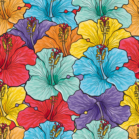 Tropical flowers seamless pattern with sketch multi color hibiscus. Hand drawn vector illustration of floral tropic summertime backdrop for background design, textile, wrapping paper or wallpaper. Ilustracja
