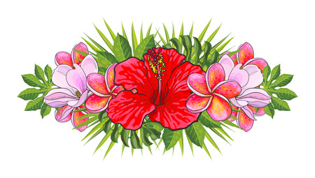Tropical flowers beautiful isolated composition with hand drawn exotic blooms of hibiscus, magnolia and plumeria and green palm leaves for wedding, greeting card or invitation, vector illustration. Иллюстрация