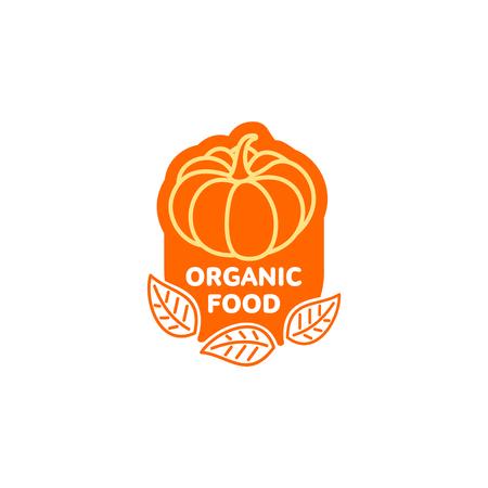Pumpkin bright orange sticker icon. Healthy organic vegetable, fresh food sign. 向量圖像