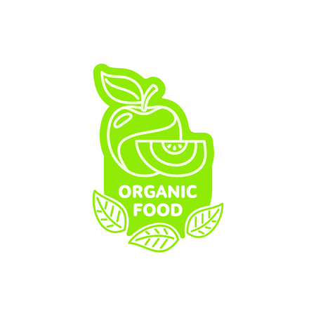 Apple with slice bright green sticker icon. Healthy organic fruit, fresh food sign.
