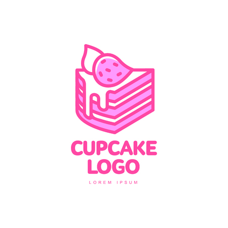 Cupcake biscuit sweet dessert food with strawberry bright line logo icon. Adhesive sticker, label, tag cream pastry decoration celebration party design, bakery store. Vector isolated illustration. Illustration