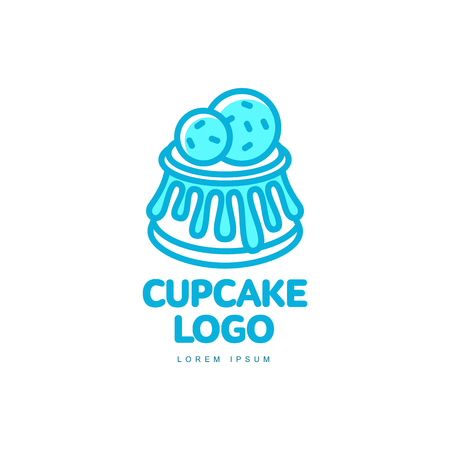 Cupcake muffin sweet dessert food bright line logo icon. Adhesive sticker, label, tag cream pastry decoration element for celebration party design, bakery store. Vector flat isolated illustration.