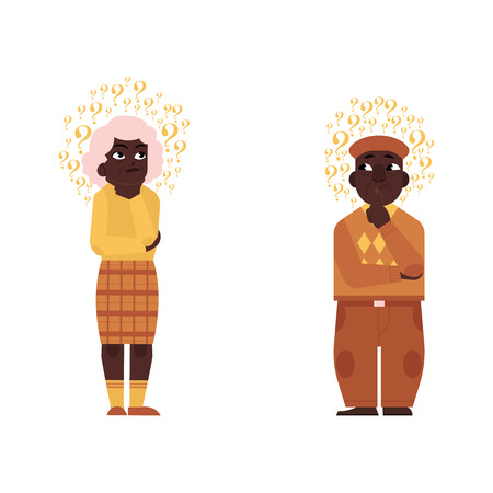 Vector flat old  black man, elderly grey-haired woman in casual clothing standing in thoughtful pose holding chin thinking with questions above head. Isolated illustration, white background Ilustração