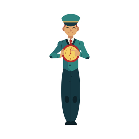 Young postman in uniform holds wall clock  in front of his chest and shows finger on dial isolated on white background.