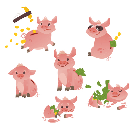 Cartoon piggy bank icon set. Cheerful pig money box full of savings with happy facial expression. Standard-Bild - 98544276