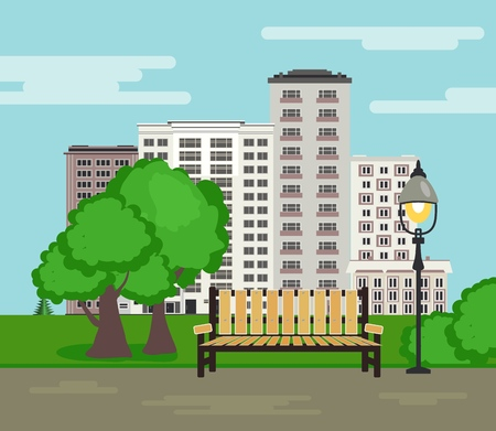 Public park on city landscape background with wooden bench, standing street lamppost with one lamp, green trees and bushes in flat style. City skyline with multistory buildings. Vector illustration. Çizim