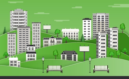 Green paper city skyline background with multistory apartment houses and office buildings, benches and lampposts in public park - flat colorful city landscape . Vector illustration.