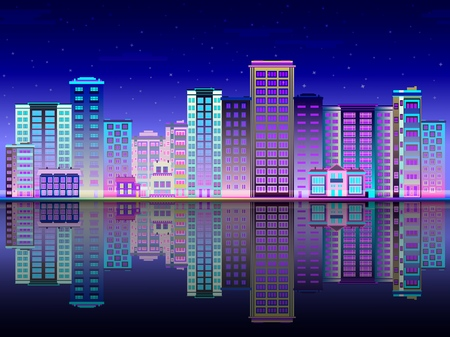 Night city in lights skyline with multistory buildings standing on river bank and reflection in water. Beautiful luminous town landscape in evening time. Flat vector illustration.