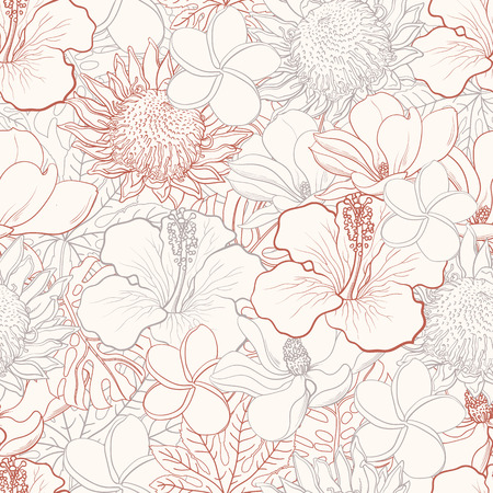 Tropical flowers seamless pattern with white hand drawn exotic blooms of hibiscus, magnolia and palm leaves with colorful line contour. Floral vector illustration in sketch style.