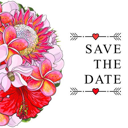 白い背景に隔離された熱帯の花との結婚式の招待状。半球の形でハイビスカス、プロテア、マグノリアとプルメリアのカラフルなエキゾチックな花  イラスト・ベクター素材
