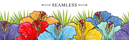 Tropical flowers hibiscuses seamless border pattern with sketch multi-color blossoms. Hand drawn vector illustration of floral tropic summertime backdrop with exotic blooms of rose mallow. Ilustracja
