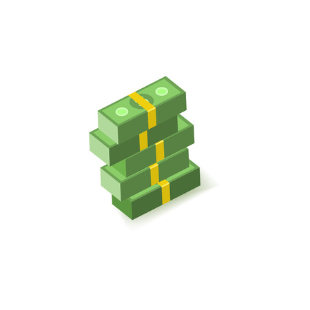 Green paper banknotes of dollars in packs of one hundred notes in pile isolated on white background - isometric money elements for finance, banking and economy banner or card. Vector illustration. Ilustração