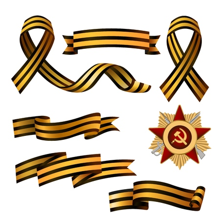 Set of Saint George ribbons and Order of Red Star, symbols of 9 May, Victory day Russian national holiday, vector illustration isolated in white background. Georgian ribbons and order of red star set Иллюстрация