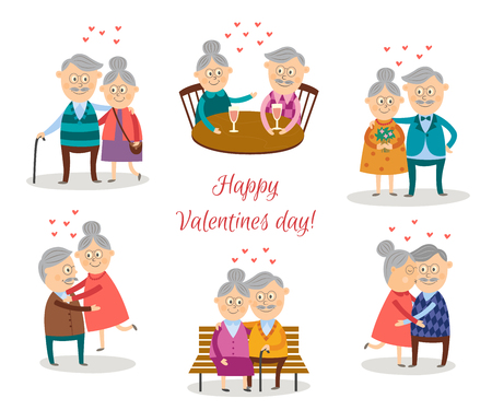 Cute vector senior couples in love dating at valentine s day set. Flat elderly characters in casual clothing hugging, embracing expressing care, positive emotions isolated illustration.