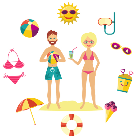 summer holiday concept vector illustration with its element surrounding man and woman in swimsuit.