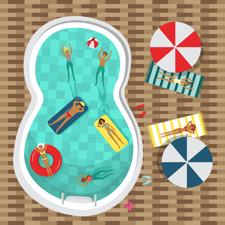 Flat vector pool party poster, banner with swimming man, woman, people lying on a lounger near sunshade, inflatable mattress ring ball. Summer vacation invitation card template illustration background.