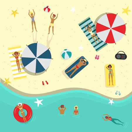 Vector flat beach party poster, banner with swimming man, woman, people lying on a lounger near sunshade, inflatable ring and ball. Summer vacation invitation card template, illustration background