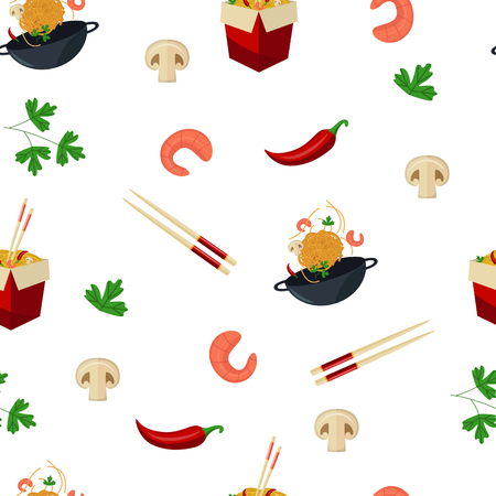 Seamless pattern with wok, noodle, chopsticks, shrimps, mushrooms, chili and parsley, cartoon vector illustration on white background. Noodle, wok and Thai, Asian cuisine ingredients on seamless pattern Ilustração