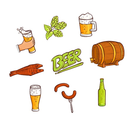 Vector cartoon beer symbols icon set. Standard-Bild - 98678156