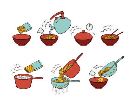 Step by step instant noodle and pasta cooking instructions, hand drawn, sketch style vector illustration isolated on white background. Cooking instant noodles and spaghetti, hand-drawn instructions Ilustração