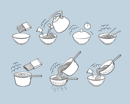 Step by step instant noodle and pasta cooking instructions, isolated black and white sketch style vector illustration. Cooking instant noodles and spaghetti, hand-drawn instructions, black and white. Stockfoto - 98756307