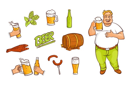 Funny fat man with a pint and set of beer related objects bottle, mug, glass, malt, hop, fish, sausages, barrel and lettering, hand drawn vector illustration isolated on white background. Beer set