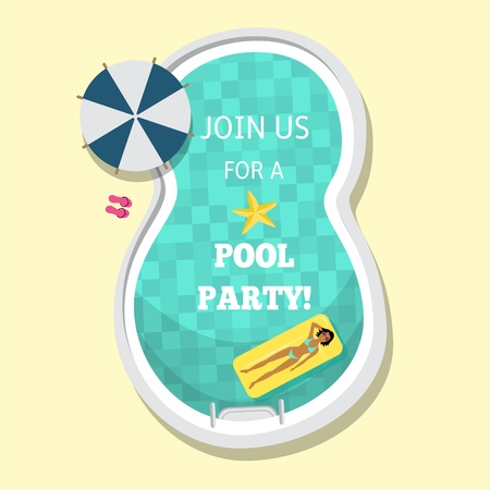 Vector flat pool party poster, banner with swimming in pool at inflatable mattress woman, near sunshade. Imagens - 98595143