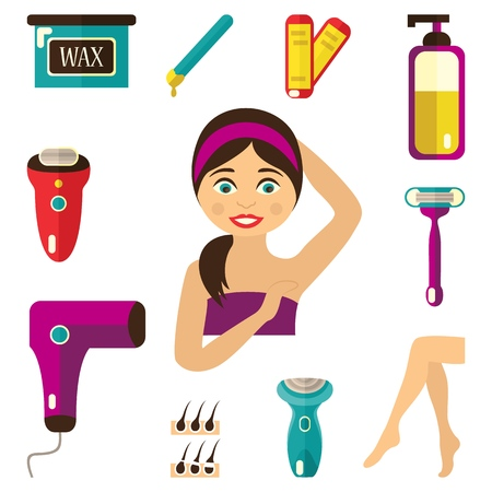 vector flat hair removal tools. Electric epilator, shaver, shaving razor, waxing strips, hot wax in bowl, laser machine, well-groomed woman legs, girl with epilated armpit icons. Isolated illustration Illustration