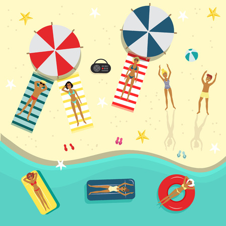 Flat beach party poster, banner with swimming man, woman, people lying on a lounger near sunshade, inflatable ring and ball. Summer vacation invitation card template, illustration background. Illustration