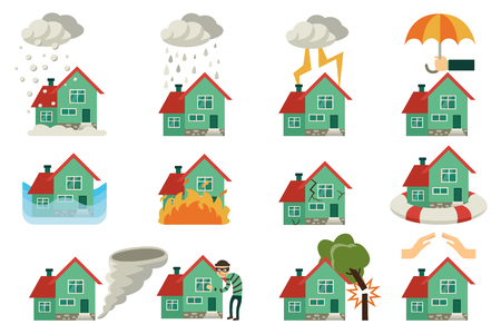 Vector flat house insurance concepts set. House being damaged by robbery, wind, rain, lighting fire, snow, tornado hurricane or whirlwind, by flood and falling tree. Natural disaster insurance scenes