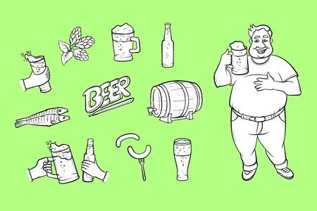 Cartoon vector beer symbols icon set. Obese man holding mug of golden lager cool beer with thick foam, bottle of beer, green hop cones, leaves, sausages, dried fish illustration.