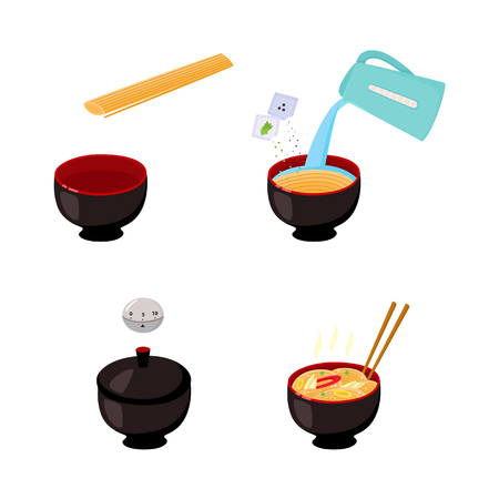 Set of images of step by step cooking instruction of how to prepare instant noodle isolated on white background. Manual guide of preparation pasta. Flat vector illustration.