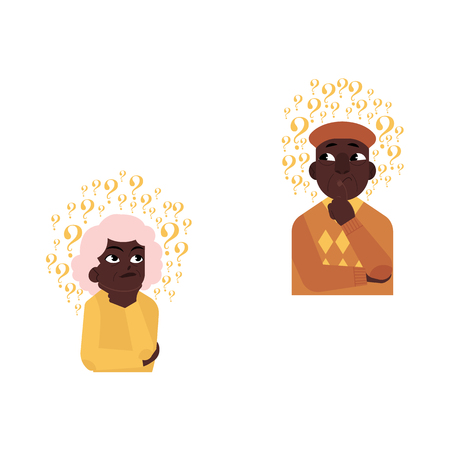 Vector flat old african elderly grey-haired woman, man in casual clothing standing thoughtful pose holding chin thinking with questions above head portrait. Isolated background illustration